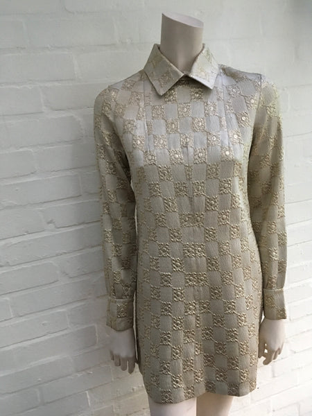 Vintage 1960's evening dress Polly Peck by Sybil Zelker Gold Jacquard Ladies