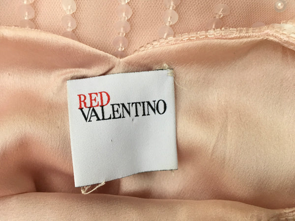 Valentino Red Pink Beaded Cocktail Dress Elegant I 40 US 4 UK 8 S Small Ladies