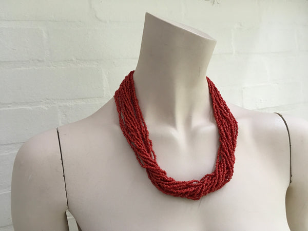 Real Coral Multistrand Necklace Ladies
