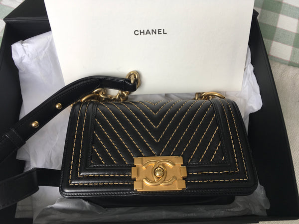 Chanel Limited Edition Calfskin Chain Chevron Small Boy Flap Black Handbag Bag Ladies