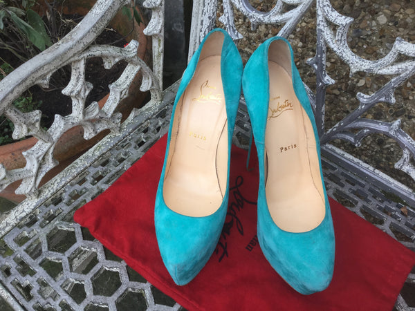 CHRISTIAN LOUBOUTIN Daffodile 160 turquoise suede leather pumps shoes 39 1/2 Ladies