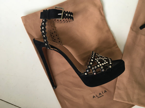 Azzedine Alaïa Black laser cut suede platform studded sandals Ladies