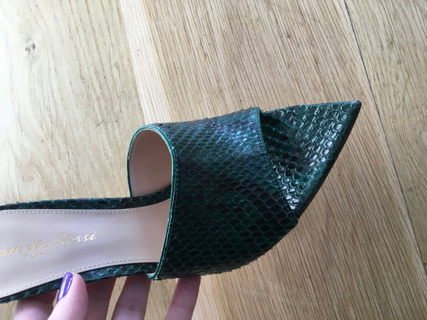 GIANVITO ROSSI Snake-embossed Alise Mules 105 In Green Size 36 UK 3 US 6 ladies