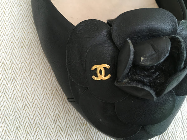 CHANEL LEATHER CAMELLIA FLATS SHOES SIZE 36 LADIES