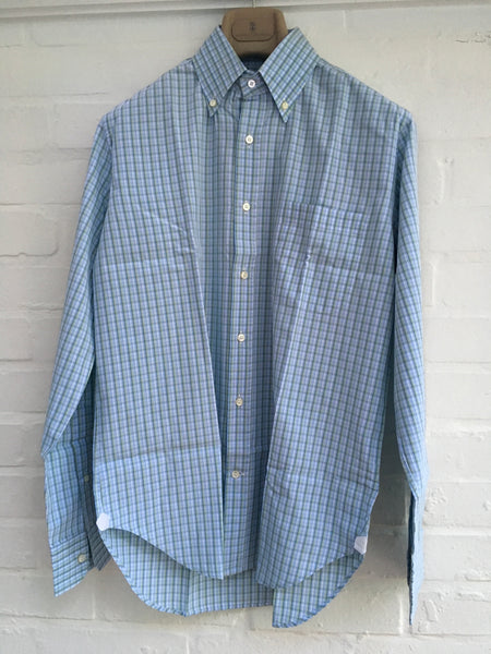 "LORO PIANA Green Blue White Plaid Check Cotton Dress SHIRT 15 1/2 "" 39 Men"