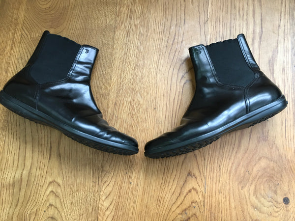 TOD'S Square-Toe Black Leather Ankle Boots Shoes 36 1/2 UK 3.5 US 6.5 Ladies