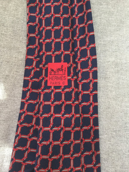 Hermès Paris Silk Blue Print Tie 7124 FA 100% AUTHENTIC Men