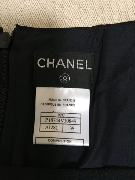 CHANEL 02C NAVY BLUE PLEATED FLARED SKIRT F 40 Ladies