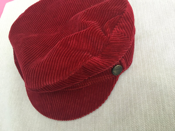 Burberry London Newsboy cap in a burnt red corduroy gunmetal hardware M Ladies