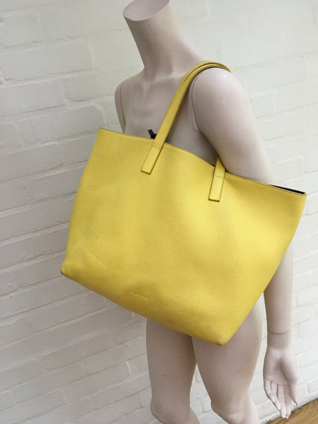 JIL SANDER Women's Large Leather Reversible Yellow Burgundy Shopper Tote Bag Ladies