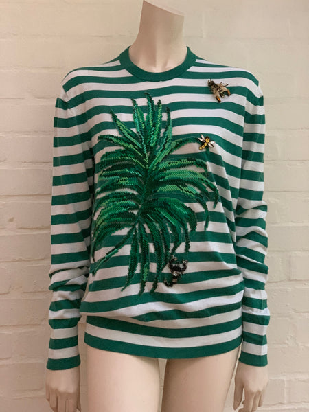 DOLCE & GABBANA 2017 banana leaf appliqué striped sweater jumper I 42 UK 10 US 6 LADIES