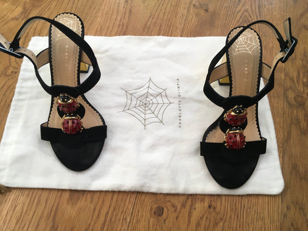 Charlotte Olympia Gala t-strap suede ladybug sandals Shoes Ladies