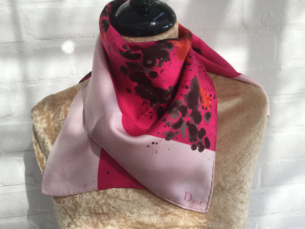 Christian Dior Purple Pink Silk Abstract Print Square Scarf Ladies