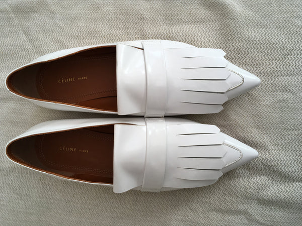 CÉLINE POINTED-TOE FRINGE WHITE FLATS SIZE 36 UK 3 US 6 SHOES LAdies