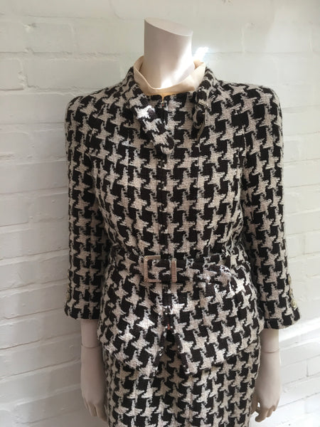 Chanel Iconic Houndstooth 2-piece dress jacket suit F 40 UK 12 US 8 Ladies