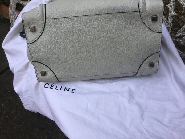 CÉLINE PARIS  Drummed Calfskin Mini Luggage Lune Travel Handbag Bag Ladies