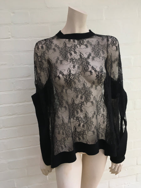 VALENTINO LADIES OVERSIZE FLORAL LACE CASHMERE WOOL TOP BLOUSE SWEATER PULLOVER ladies