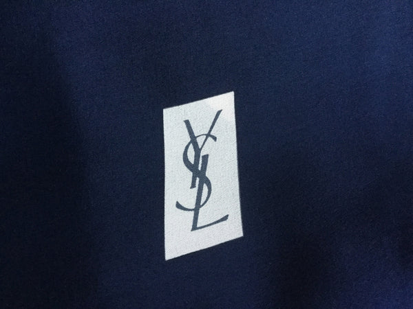 YVES SAINT LAURENT NAVY BLUE DOTS PRINTED SILK SCARF