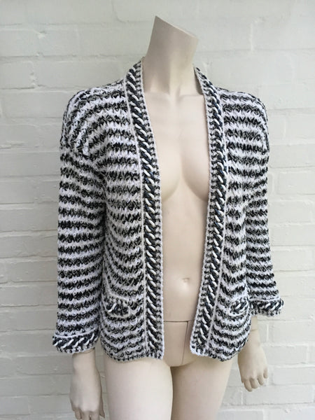 CHANEL 18P 2018 Black & White Brocade Trim Cardigan Chain Trim Ladies