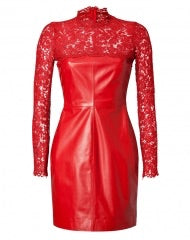 Valentino Lace-Yoke Leather Dress Rosso Red  Ladies