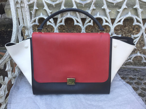 CÉLINE PARIS Smooth Leather Tricolor Medium Trapeze Bag Handbag Ladies