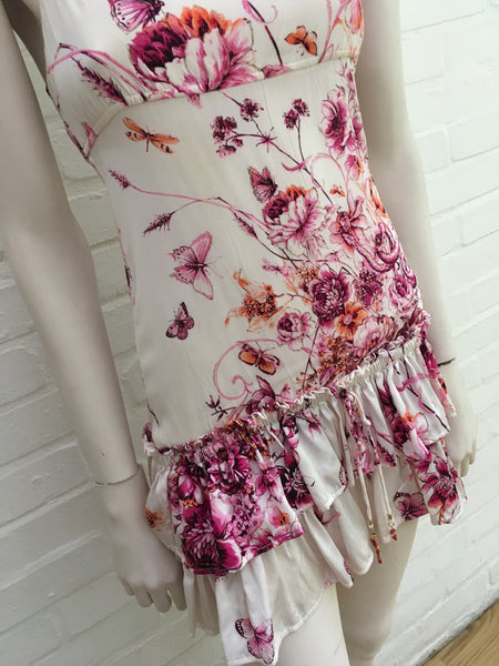 Roberto Cavalli Runaway Summer Floral Butterflies Real Coral DRESS LADIES