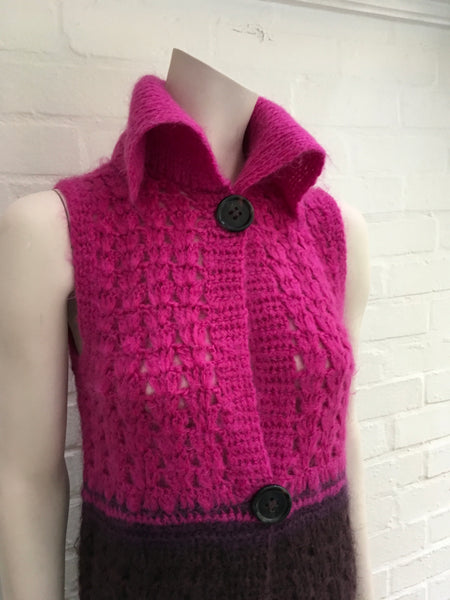 MAX&Co. Pink ombre mohair blend vest cardigan