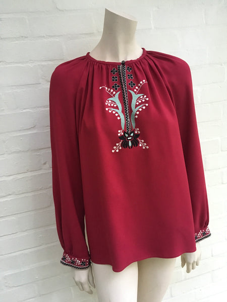 VILSHENKO Embroidered Floral Details Blouse Red Woman  Ladies