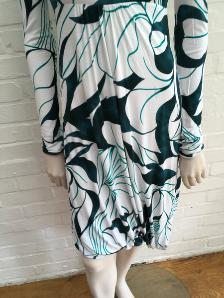 SportMax White with Green Floral Print Cotton MaxMara Dress Size S SMALL Ladies