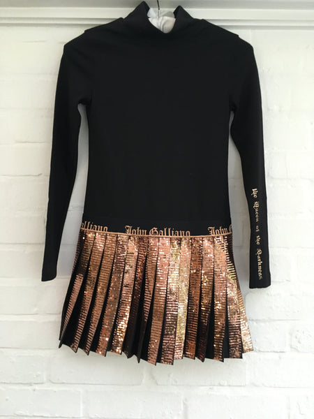 John Galliano Black Jersey Dress with Bronze Sequin Skirt Children