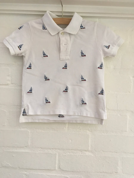 Ralph Lauren Boys White Polo T-Shirt Sail Boat Embroidery Size 24 month Ladies