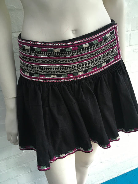 ISABEL MARANT Runway Women's Black Saxen Embellished Cotton Mini Skirt LADIES