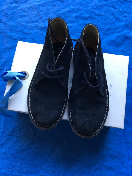 Andrea Montelpare Navy Blue Suede Leather Boots Shoes Size 30 Boys Children