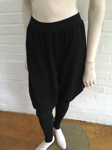 Chanel 08A Black Lurex Knit Fine Cashmere Joggers Harem Pants F 34 UK 6 US 2 Ladies
