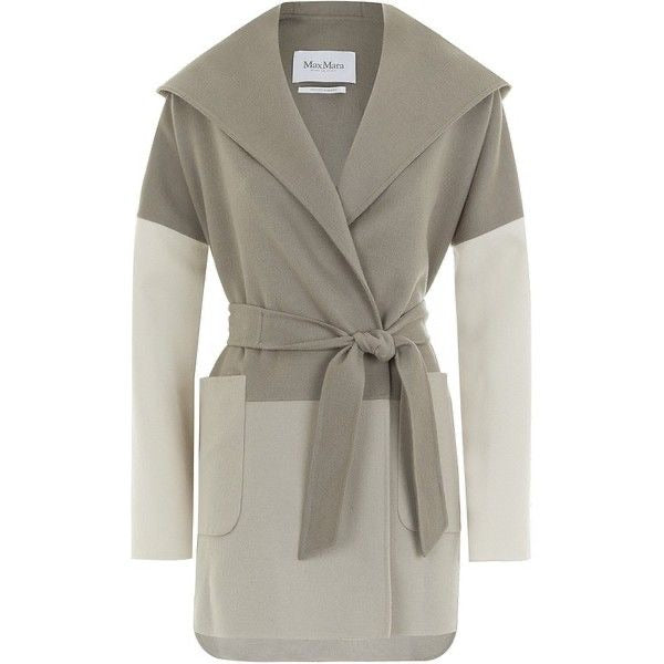 Max Mara Women's Gray Taupe Arpa Hooded Angora Coat Ladies