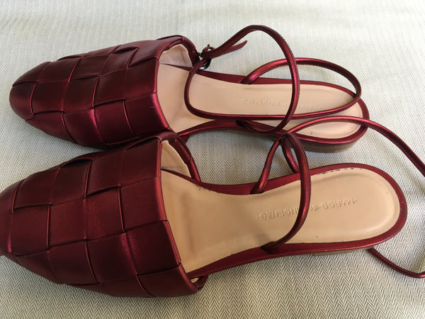 Marco de Vincenzo Red Laminated Nappa Flat Shoes Size 40 US 10 UK 7 LADIES