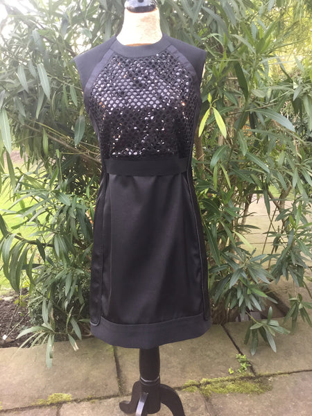Victoria, Victoria Beckham Black Victoria Beckham Small Laser Cut Sequin Dress Size UK 10  LADIES