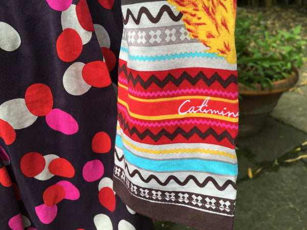 Catimini Clothing Girls Chocolate Brown, Red and Cream Jersey Dress Size 10 years old Children