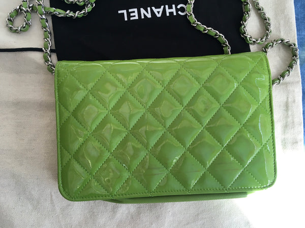 CHANEL Patent Quilted Wallet On Chain WOC Lime Green Bag Handbag Rare Ladies