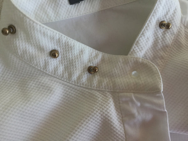 Alexander McQueen 2014 collection White Stud Collar Tuxedo Shirt Size I 42 Ladies