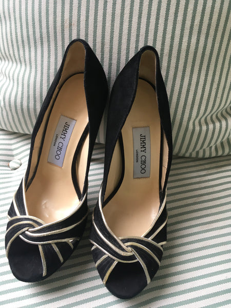 JIMMY CHOO PLATFORM BLACK GOLD TRIM SUEDE PUMPS SHOES SIZE 36 UK 3 US 6 Ladies