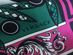 "VERSACE $456.00 Silk Circle Design White/ Black/ Multicolor Scarf 35"" x 35""  LADIES"