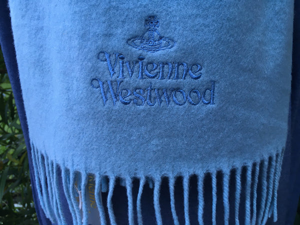 VIVIENNE WESTWOOD SKY BLUE BRUSHED WOOL SCARF unisex ladies men