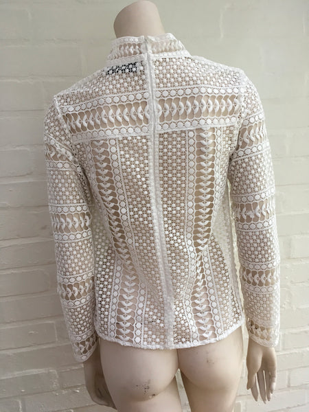 Self Portrait White Contrast lace panelled top blouse Size UK 12 US 8 Ladies