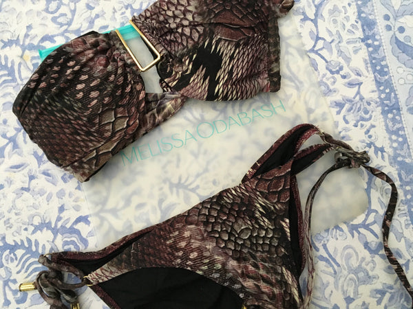 MELISSA ODABASH BARCELONA SNAKESKIN BIKINI SWIMSUIT SET SIZE UK 6 US 2 XS Ladies