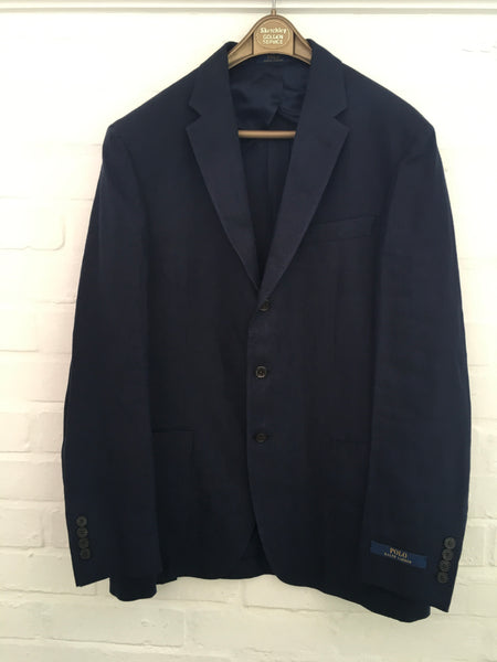 Ralph Lauren POLO Linen Navy Blue Blazer Jacket Size 40 R Men