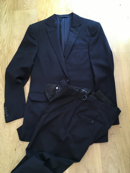 Ralph Lauren Black Label Black Wool Extrafine Suit 2 Piece Men