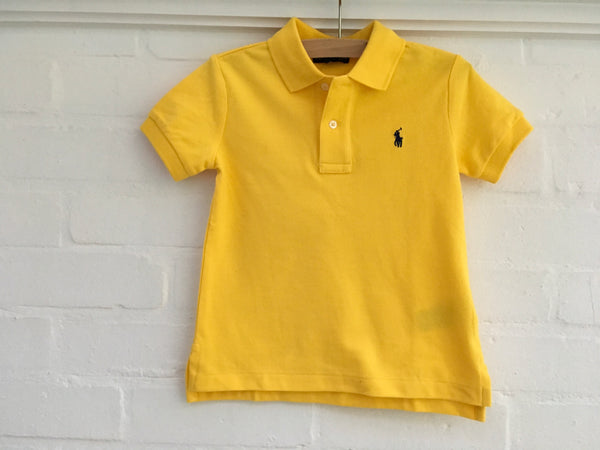 RALPH LAUREN POLO KIDS BABY BOY Cotton Mesh Polo Shirt Yellow Children