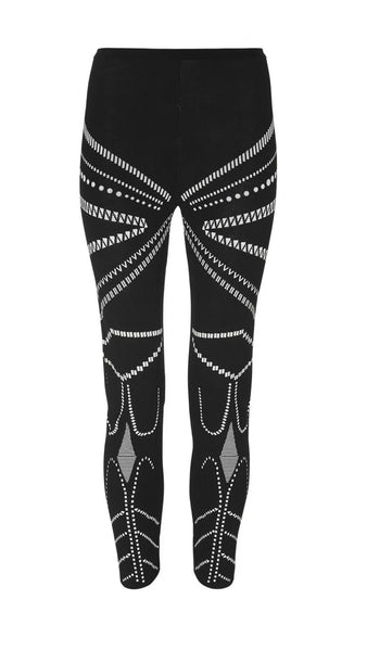AZZEDINE ALAÏA ALAIA BLACK PRINTED KNITTED LEGGINGS SIZE M MEDIUM ladies