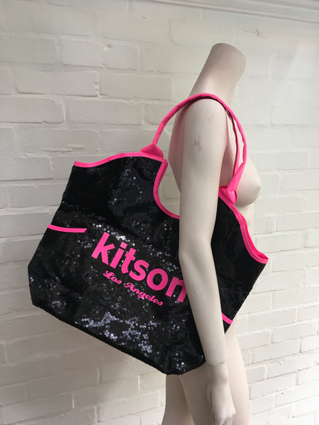 KITSON LOS ANGELES Sequin Beaded Large Tote Bag / Pink and Black Beach Bag Ladies